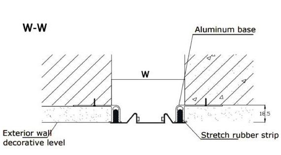 Khe co giãn tường ngoài vật liệu gồm alumium và tấm cao su